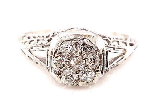 Vintage Antique Diamond Cocktail Filigree Ring .45ct 18K Art Deco 1.75ct Look