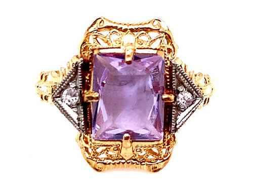 Retro Lavender Quartz Ring 1.50ct Vintage Antique 1950s New Old Stock Yellow Gold