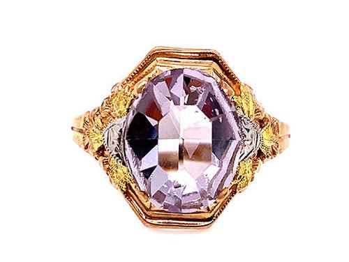 Retro Lavender Quartz Ring 2.40ct Vintage Antique 1950s New Old Stock Yellow Gold