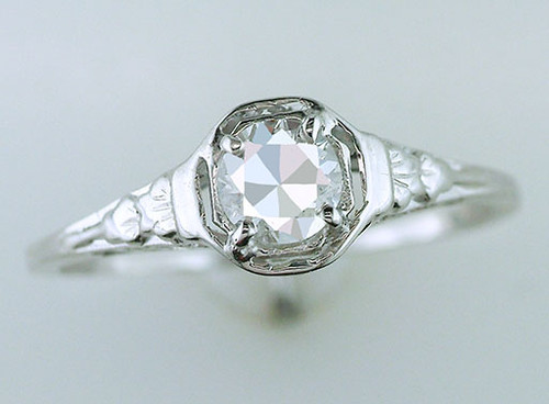 Antique Diamond Engagement Ring  GIA Certified .44ct 18K White Gold Deco Vintage