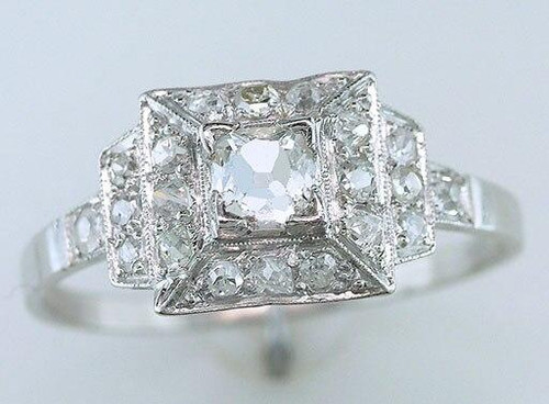 Antique Diamond Engagement Ring French Cut GIA Certified 3/4ct Platinum Art Deco