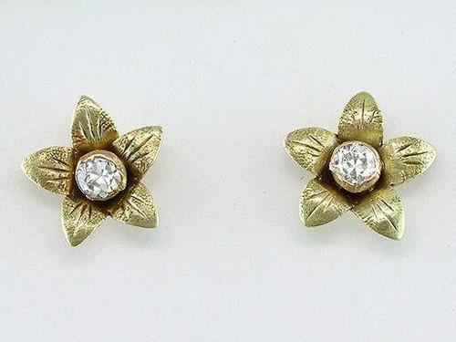 Genuine Antique Art Deco Vintage Diamond Screw Back Earrings .16ct 14K Antique Deco Old Euro Flower