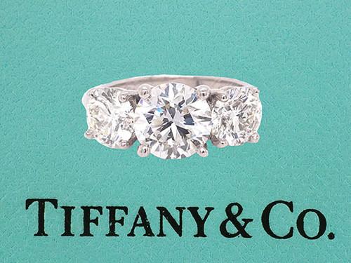 Tiffany & Co 3 Stone Diamond Platinum Engagement Ring 4.55cttw