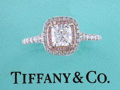 Tiffany & Co Soleste Cushion Pink Diamond Platinum Engagement Ring 1.37ct
