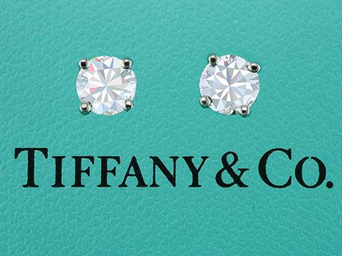 Tiffany & Co 1.92ct Round Diamond Stud Earrings Certified G-VVS2 Platinum