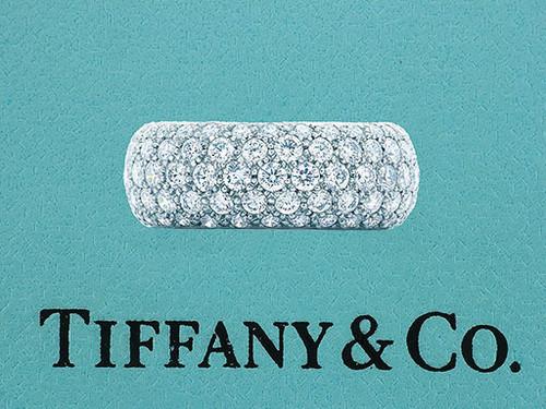 Tiffany & Co. Etoile 3.75ct Diamond Platinum 5 Row Eternity Wedding Band Ring