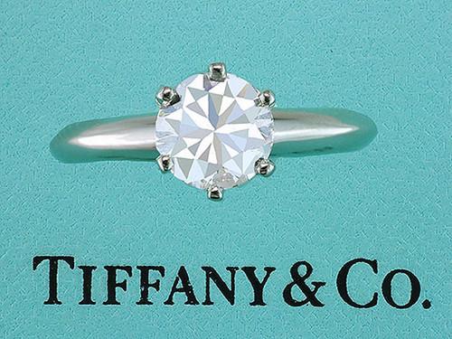Tiffany & Co. Engagement Ring Diamond Solitaire Platinum 1.00ct H-VS1 XXX