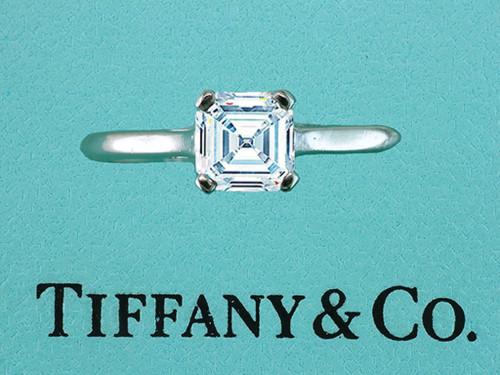 Tiffany & Co Engagement Ring Square Emerald Cut .77ct  E-VVS Diamond Solitaire