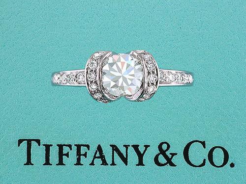 Tiffany & Co. Ribbon Engagement Ring Diamond Platinum .87cttw E-VS1