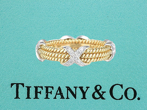 Tiffany & Co. Schlumberger 3 Row X Rope Diamond 18K Eternity Ring Band Size 11
