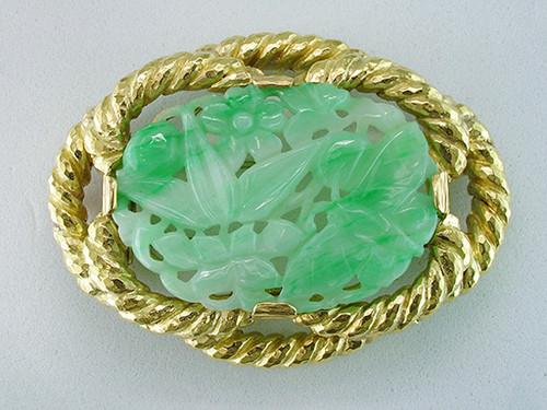 David Webb Jade 18K Yellow Gold Pin Brooch Pendant