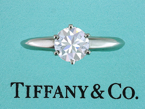 Tiffany & Co Engagement Ring Diamond Solitaire Certified .75ct E- VVS2 XXX Plat