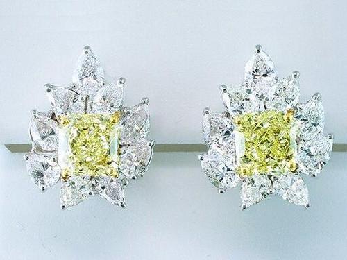 8.35cttw Fancy Yellow and White Diamonds 18K/22K Clip-On Pierced Earrings