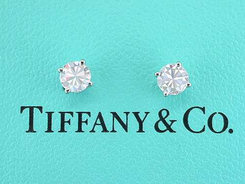 Tiffany & Co Diamond Earrings Round Brilliant Studs H-VVS 1.00ct Size