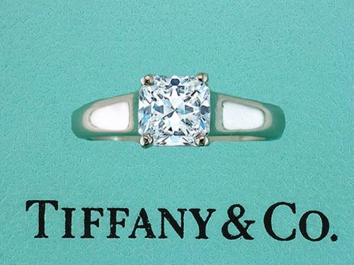 Tiffany & Co Lucida Platinum Engagement Ring Certified Diamond 1.05ct