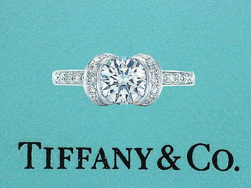 Tiffany & Co. Ribbon Engagement Ring Diamond 1.02cttw H-VS1 XXX Platinum