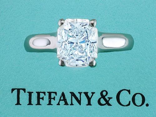 Tiffany & Co Lucida Engagement Ring .92ct G/VS1 Diamond Platinum