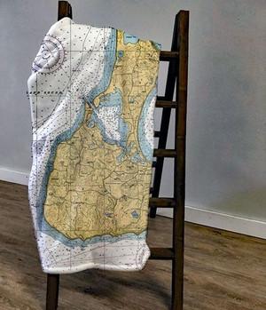 Nautical Chart Throw Blanket