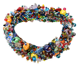 Beautifully done hand strung glass beads.