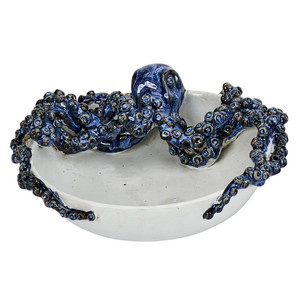 Octopus Bowl with Blue & White Glazing - Handmade