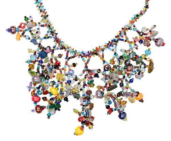 Hand strung glass beads.