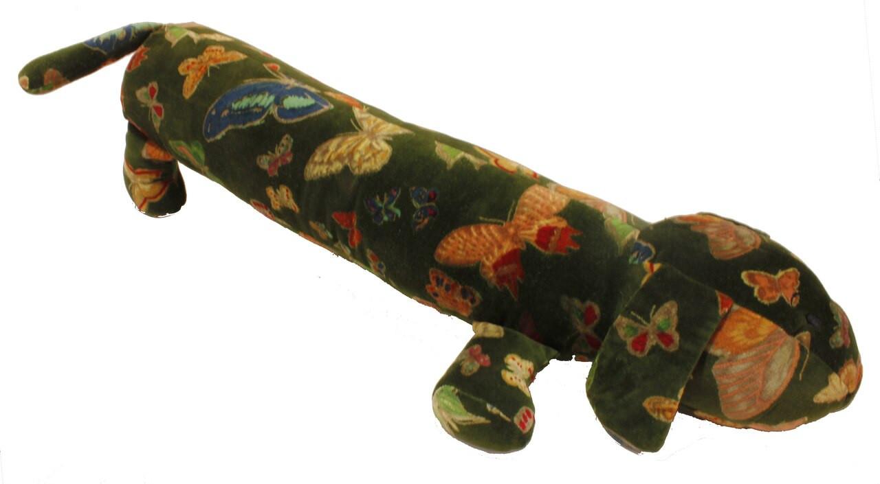 Dachshund, Sausage Dog Velvet Draught Excluder -butterfly design