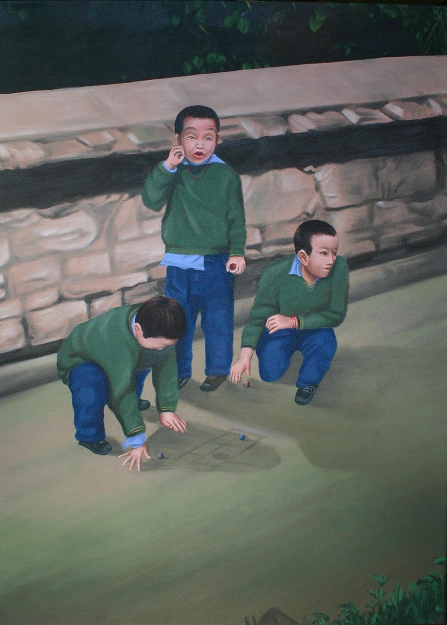 Tibetan school boys playing