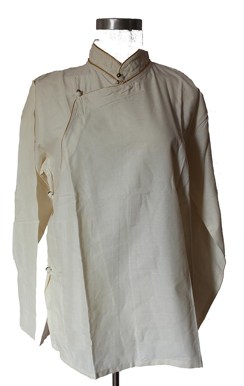 Tibetan shirt with piping
