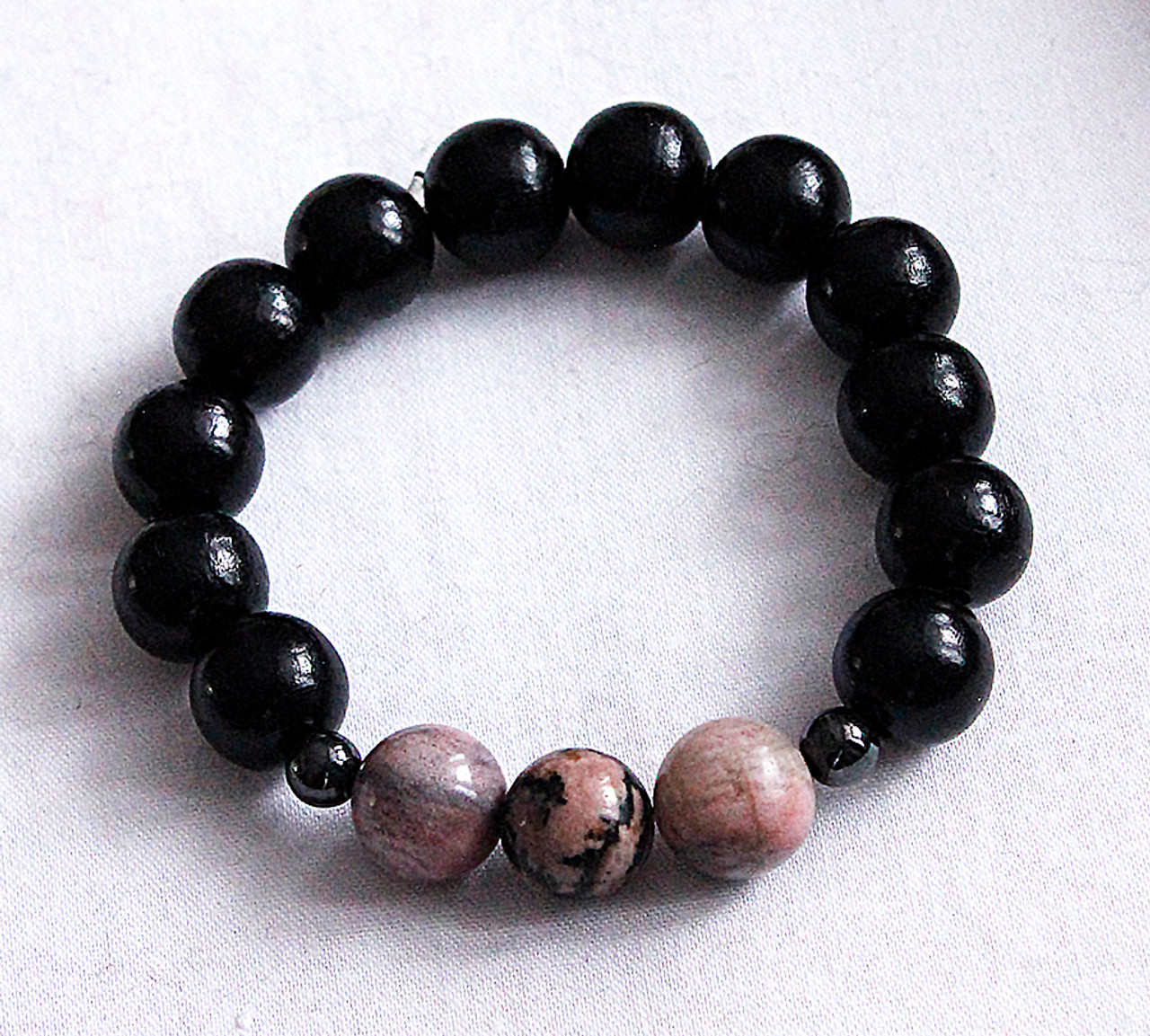 Rhodoniite and wood meditation bracelet