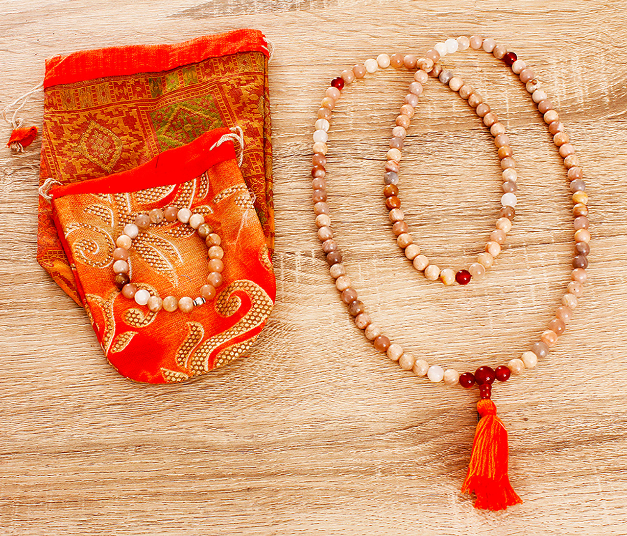 Sunstone crystal mala