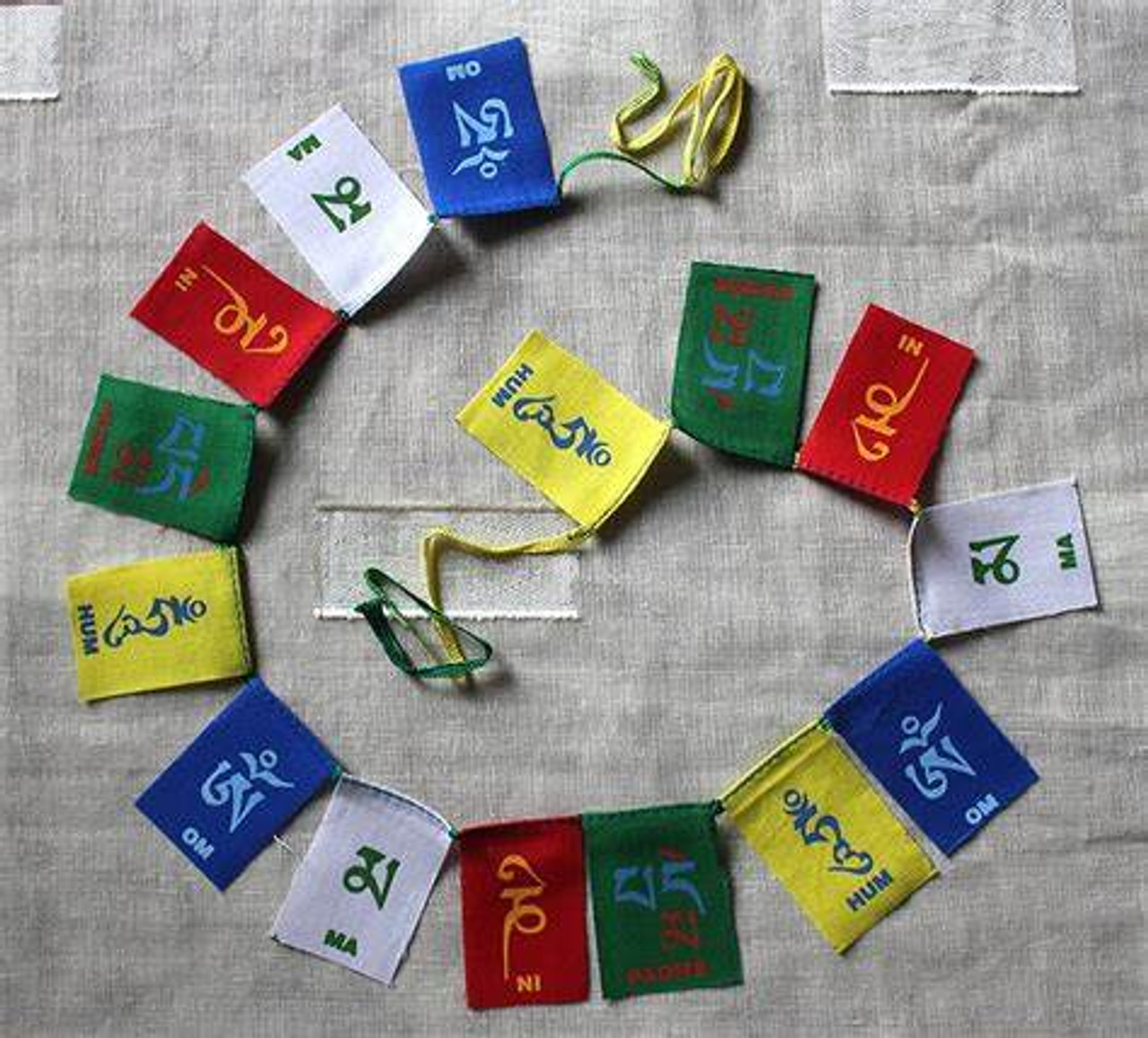 Om mani padme hum prayer flags