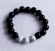 White howlite and wood meditation focus bracelet