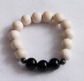 Black agate & wood meditation bracelet