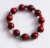 Crystal and wood meditation bracelet