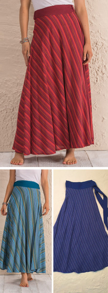 circular stripe wrap skirt