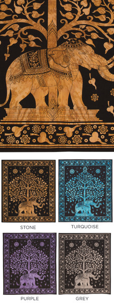 Tree of life and elephant throw