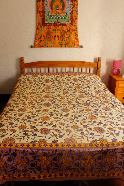 Indian block print flower throw bed linen
