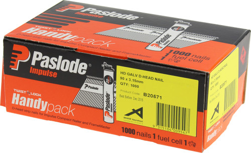 90x3.15mm PASLODE IMPULSE HD GALV D-HEAD NAIL