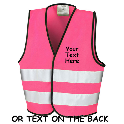Hi Vis pink, girls, High Viz, PPE, builder, workwear, gifts for him, gift for daddy, Childrens Vest, Waistcoat, Jacket, Kids, Child, Personalised