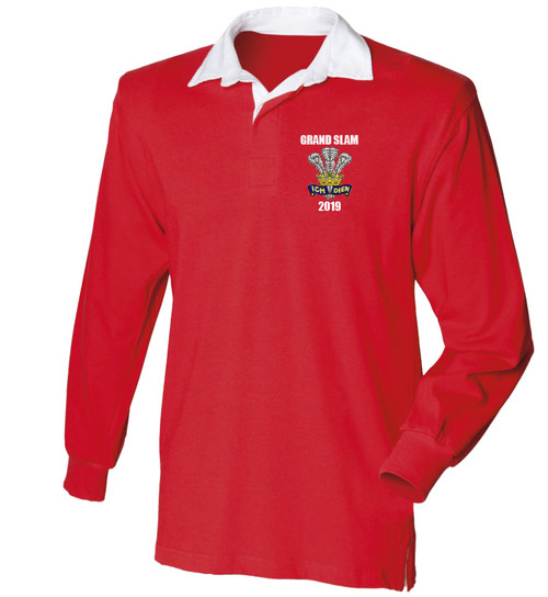 Wales Grand Slam 2019 retro rugby shirt available in sizes small to 3XL