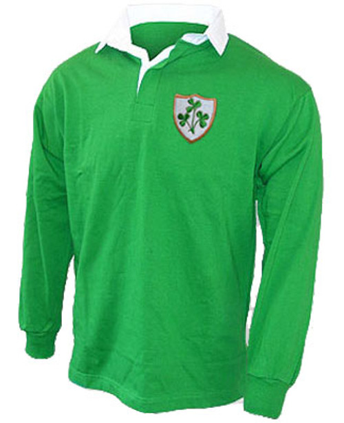 d6654098aa6 A 1970's style retro Ireland Rugby shirt. This Retro 1970's style rugby  shirt is ideal