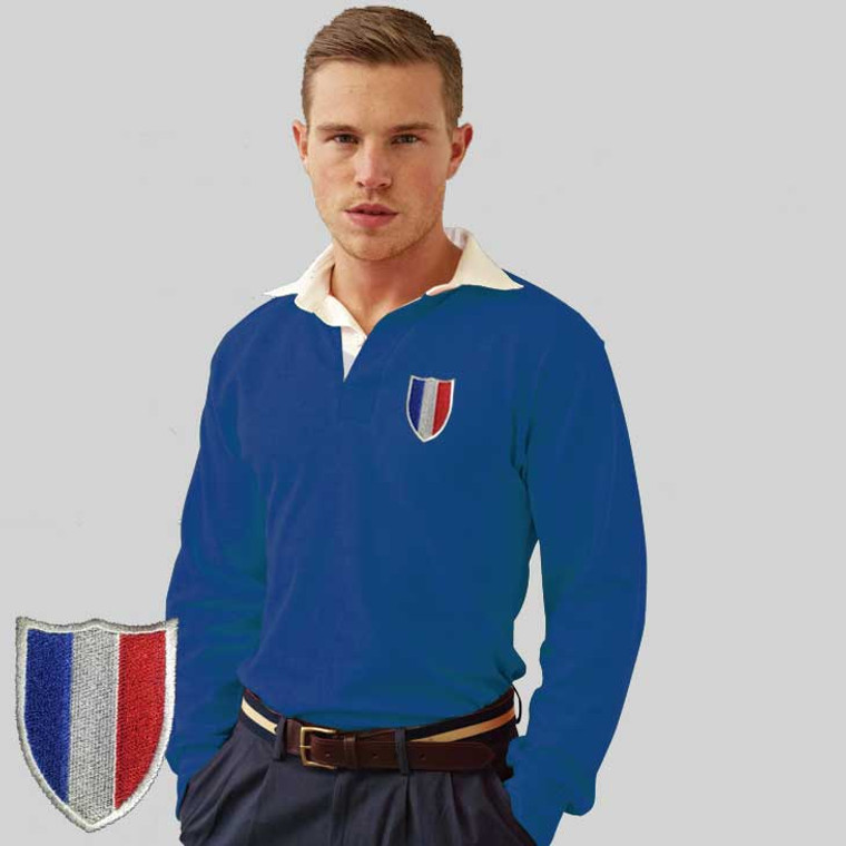 French vintage style rugby shirt. 80s France flag crest embroidered onto a retro style rugby shirt