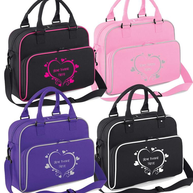 Girls Personalised Ballet Dance Shoulder Bag Free Printing Dancing Heart Design