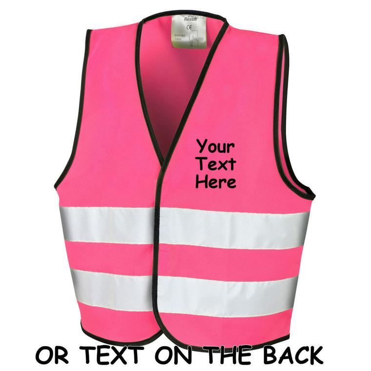 Hi Vis pink, girls, High Viz, PPE, builder, workwear, gifts for him, gift for daddy, Childrens Vest, Waistcoat, Jacket, Kids, Child, Personalised