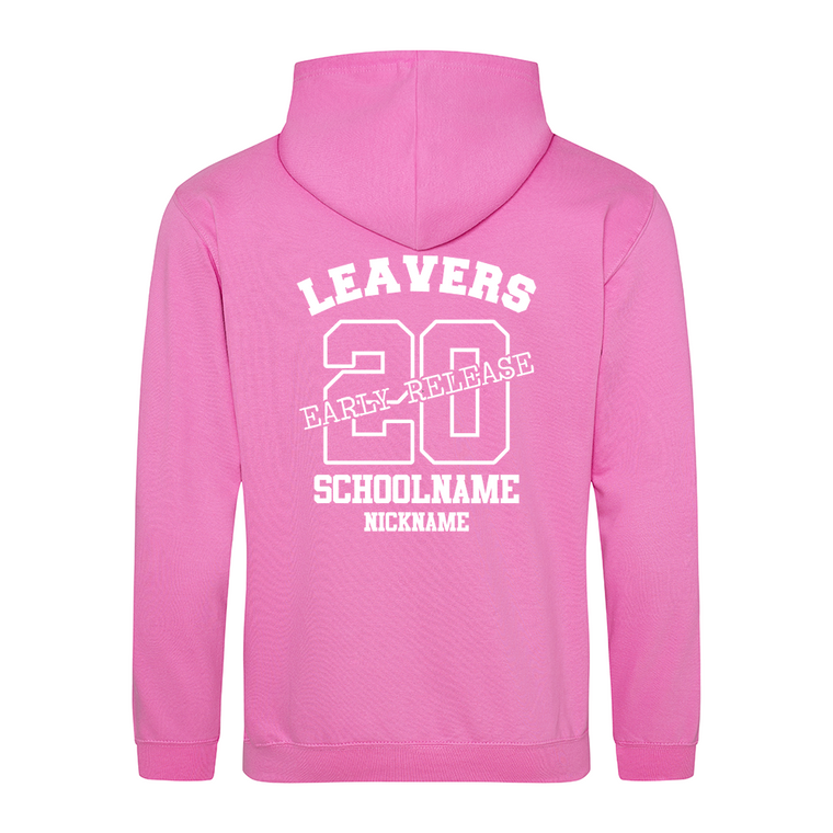 Leavers hoodie early release candyfloss pink