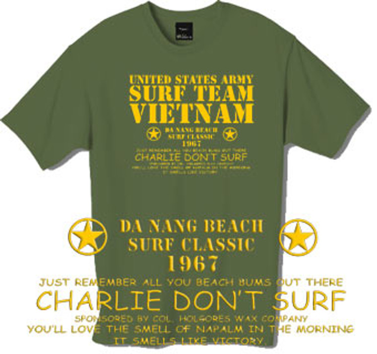 Surf Team Vietnam t-shirt.  From the film Apocalypse Now.  This tshirt is only available in Olive Green.