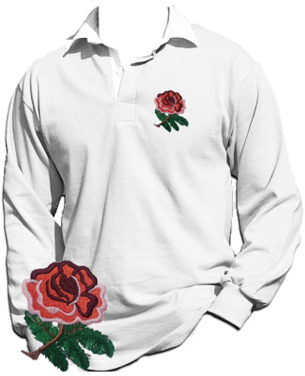 A 1970's style retro England Rugby shirt. This Retro 1970's style rugby shirt is ideal for showing the World that you are proud to  support the England Rugby side. Traditional England rugby shirt with white collar and cuffs. The Red English rose has been beautifully embroidered on the front left breast. This garment is a tribute to England Rugby and the traditional English rugby fan and as such is 100% Unofficial.