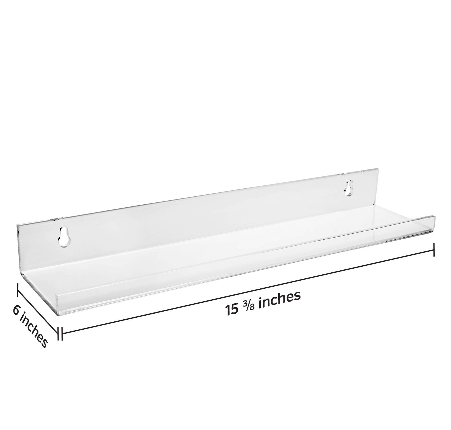 Set of 2 My Charity Boxes Acrylic Wall Mounting Bathroom Shelves 15 x 3 inch Display Shelving