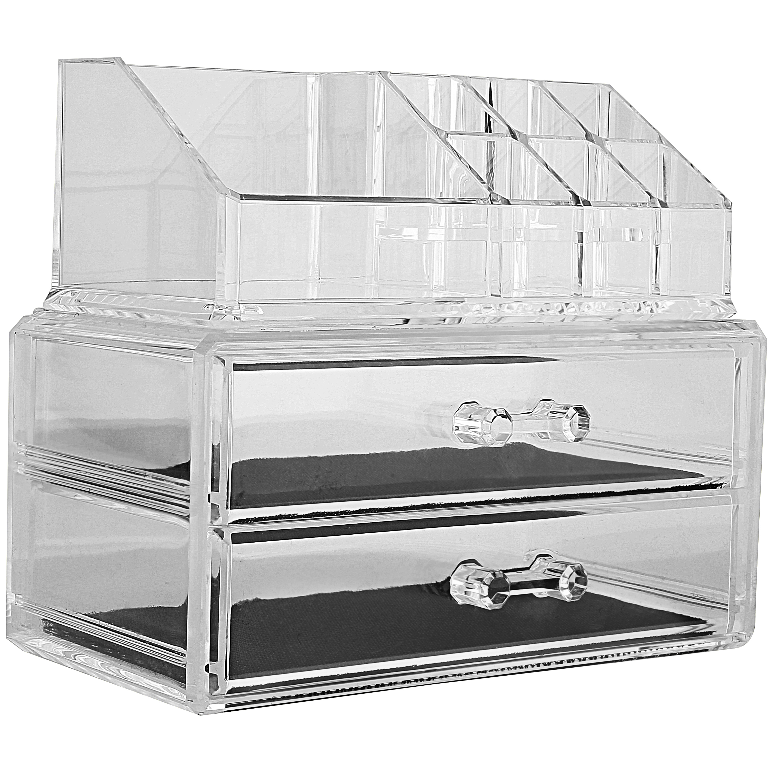 Acrylic Makeup Cosmetic Jewelry Organizer Storage Display Box With 2 Set Of Drawers My Charity Boxes