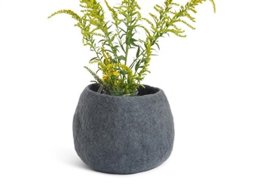 Wool Felted Flower Pot *medium* Grey